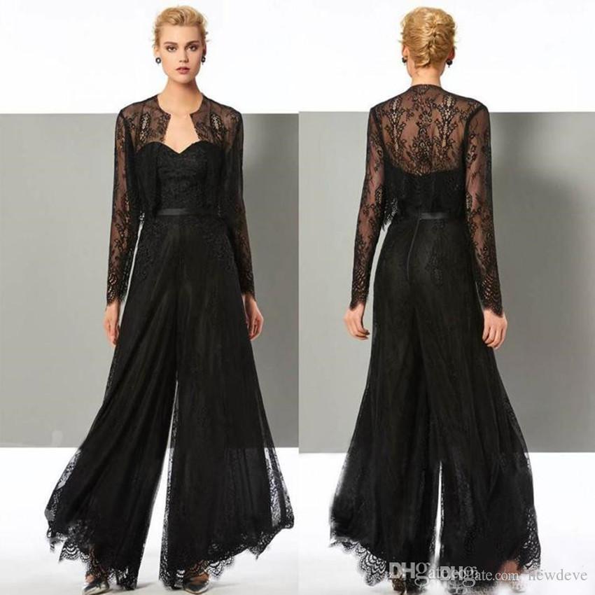 Eleganter schwarzer Overall Mutter der Braut Kleider Hose passt Schatz Hochzeit Gastkleid mit Jacken Plus Size Abendkleider