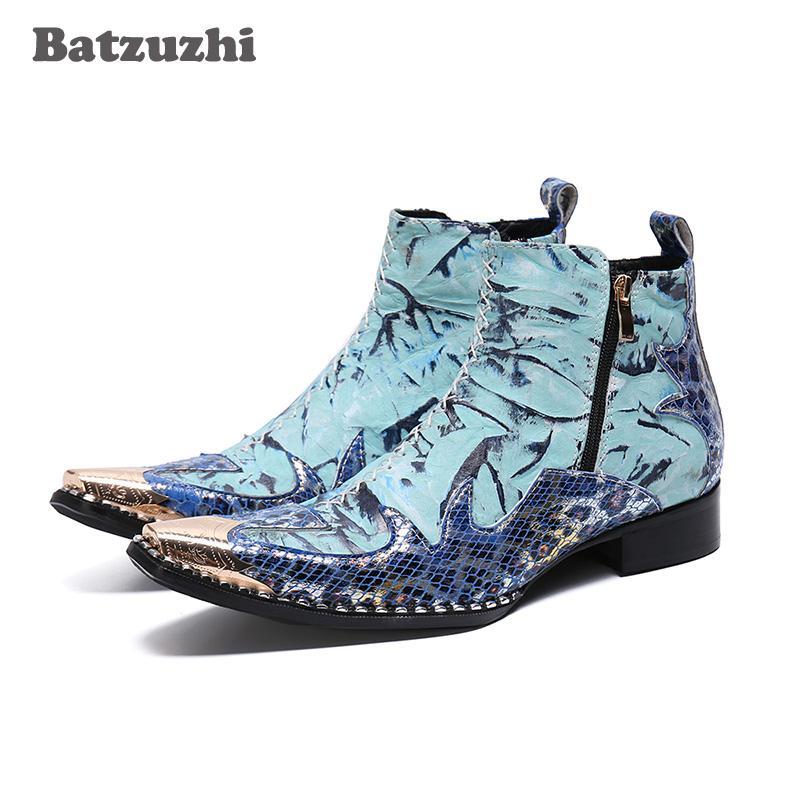 Batzuzhi uomini di marca di calzature di punta di metallo Toe vera pelle stivaletti Designer for Men festa di nozze Botas hombre