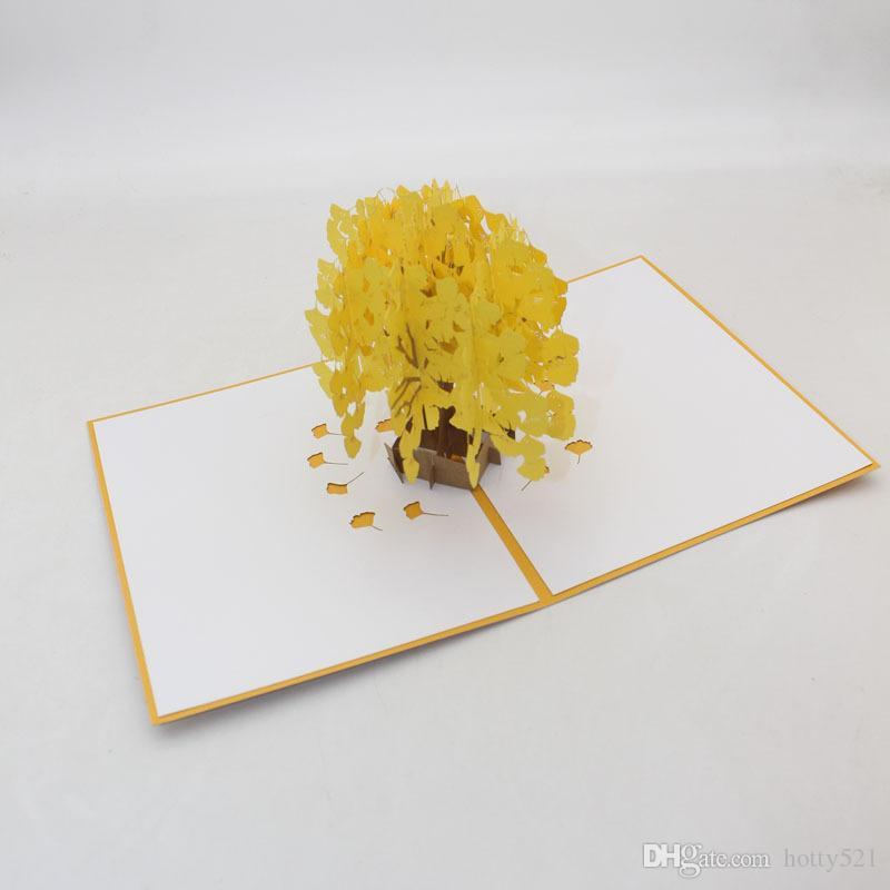 Origami 3D Kirigami Main Chaude À La Main Pop UP gingkgo Arbre Cartes De Voeux Invitation Carte Postale Pour Anniversaire Cadeau De Fête De Noël
