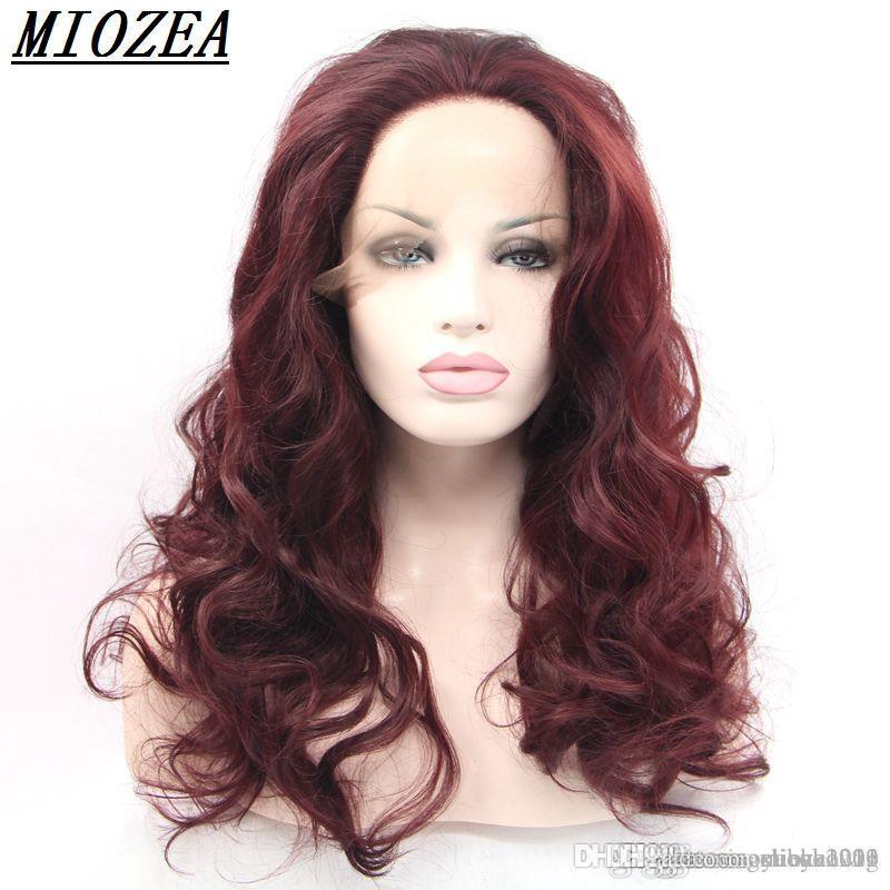 Burgundy Long Wavy Glueless Synthetic Lace Front Wig Heat Resistant Hair Fluffy Full Femmle Party Wigs 24inchBurgundy Long Wavy Glueless Syn