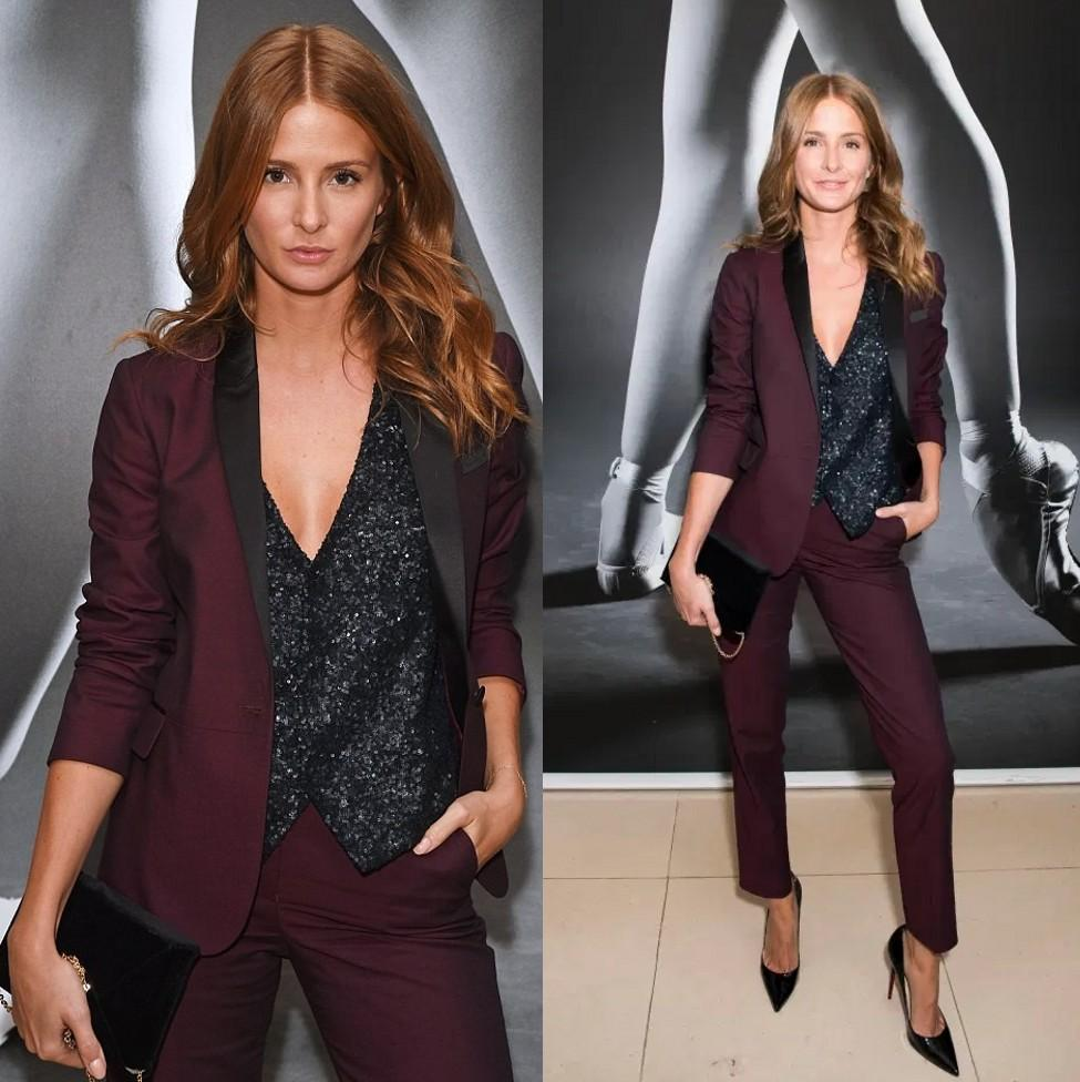 Burgundy Women Prom Suits Shawl Lapel Wedding Guest Wear For Lady Tuxedos Three Pieces Evening Formal Blazers Sequined Vest Jacket And Pants