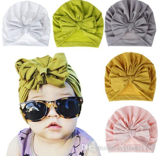 Candy Colors Kids Bow Hat Solid Color Beanie Crochet girls Cute Hat New born Hat Cap