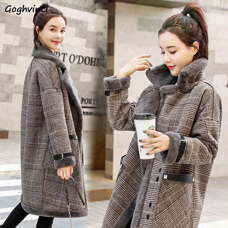 Misturas para as Mulheres da manta Thicker Plus Size Fashionas longo das mulheres Casacos de inverno Harajuku roupas quentes Elegante Casual estilo coreano