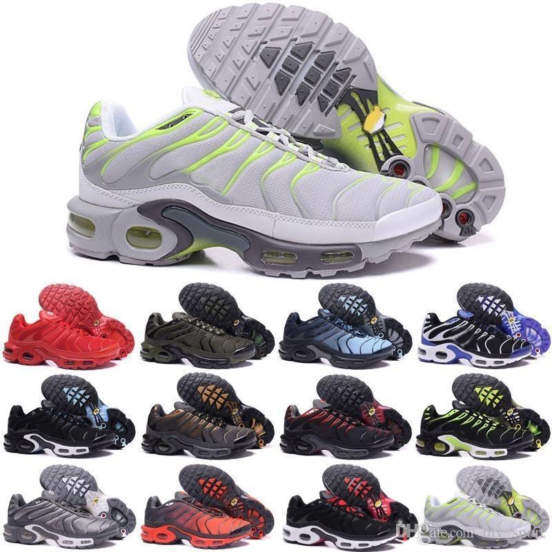 2019 Novos Sapatos de Corrida Homens TN Sapatos tns plus air Moda Aumento Ventilação Treinadores Casuais Azeitona vermelho azul preto Sneakers Chausseures