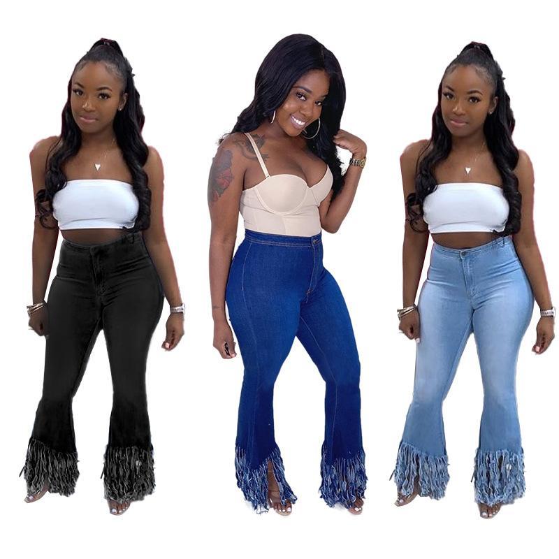 INS Горячие женские клеш джинсы с кисточки Три цвета высокой талией Ripped Bell Bottom Узкие длинные джинсы лето осень Streetwear для девочек
