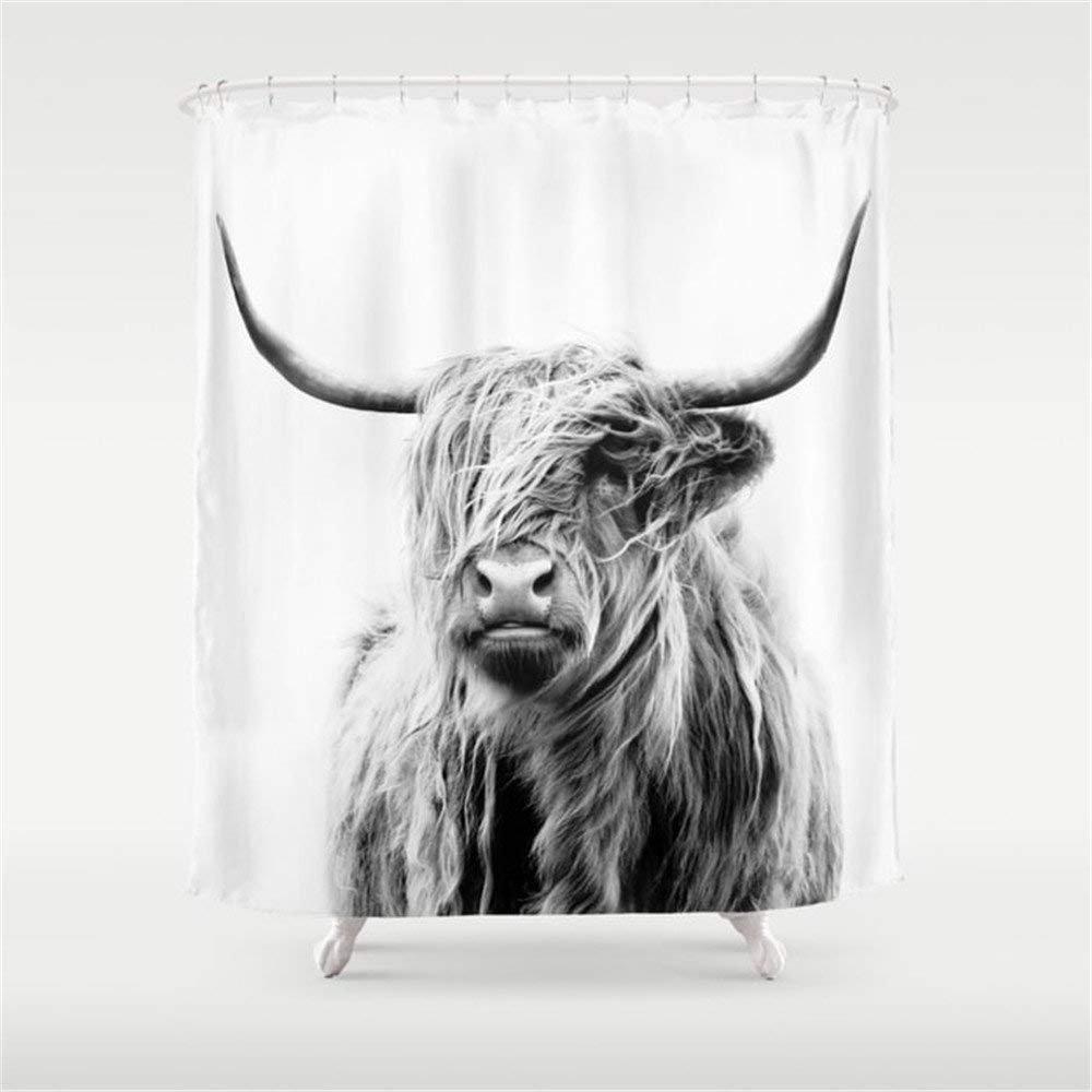 صورة من هضبة البقرة دش الستار ماء أقمشة بوليستر ديكور الحمام مطبوعة دش الستار مع 12 خطاف