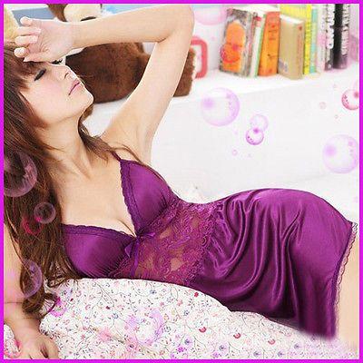 Lingerie Vestido V Neck Chiffon fora oca sólida Underwear Sexy Nightgown Babydoll Pijamas LACE Pijamas Noite vestido roxo
