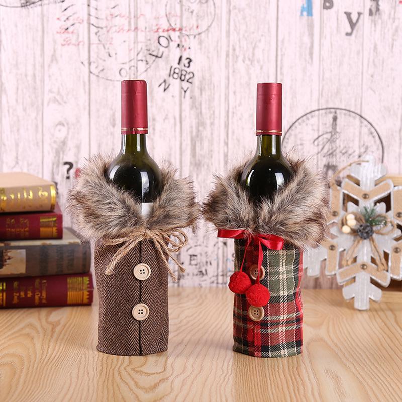 2 tapas de botellas de vino del estilo rojo de Navidad Conjunto fiesta de Navidad de interior decoración de la tabla creativa de vino para el Hotel