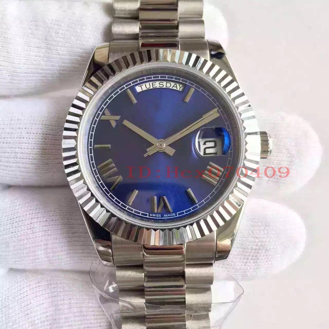 Reloj de pulsera 36mm 118296 hombres de esfera azul de lujo Cal.2836 Movimiento automático de acero de calidad superior del reloj para hombre JF fábrica