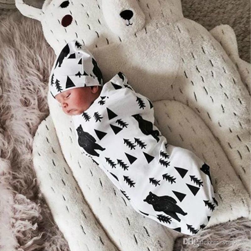Newborn Infant Baby Swaddle Sleeping Bags Baby Muslin Blanket + Headband Baby Soft Cotton Cocoon Sleep Sack Hat 2pcs set 11 Colors 14883