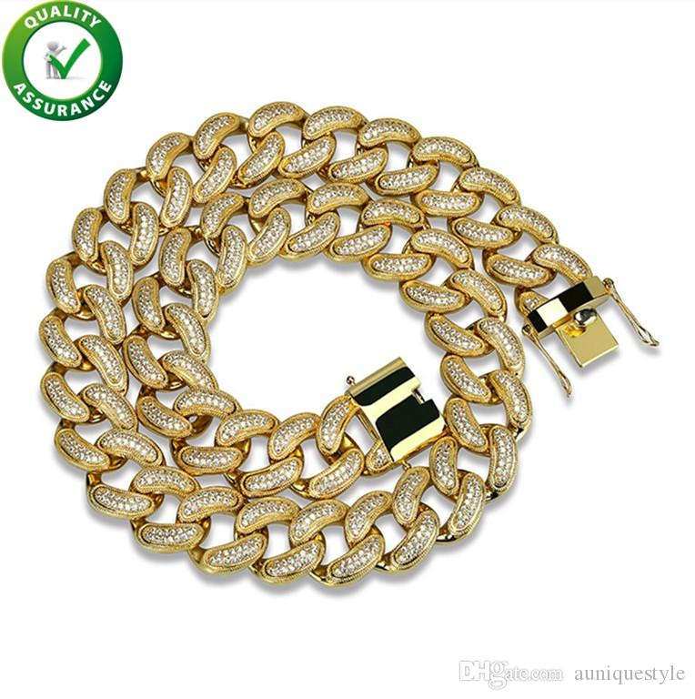 Iced Out Chains Hip Hop Jewelry Mens Luxury Designer Gold Necklace Micro Paved Diamond Bling Miami Curb Cuban Link 28mm Wedding Accessories