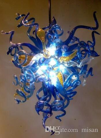 Lampadario moderno lussuoso lampadario a mano a mano soffiato a mano Murano romantico lampade a sospensione in vetro blu AC 110 / 120/220 / 240V