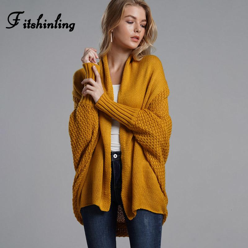 Fitshinling Oversized sweater cardigan female clothes patchwork batwing sleeve long cardigans women winter jacket coat big sizes Y190929