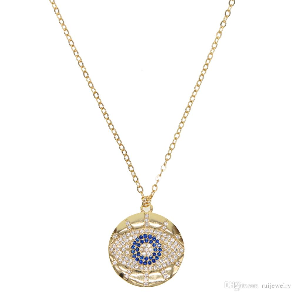 Fashion 2019 turkish Evil Eye Necklace paved Blue clear CZ Evil Eye Charm Long Women Necklace Pendants Link Chain gold filled jewelry