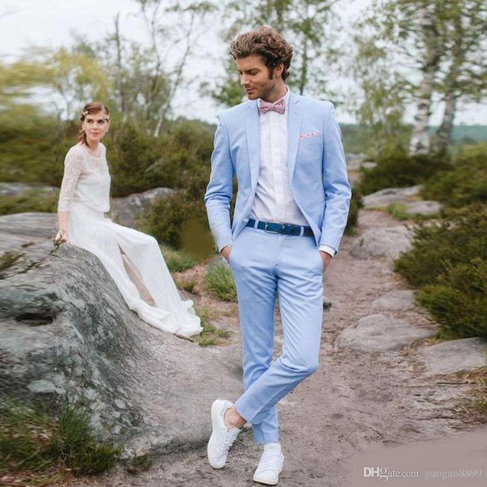 2019 cheap Light Sky Blue Slim Fit Wedding Tuxedos Two Buttons Notched Lapel Men's Prom Suit Custom Made Jacket and Pants for Groom Wear