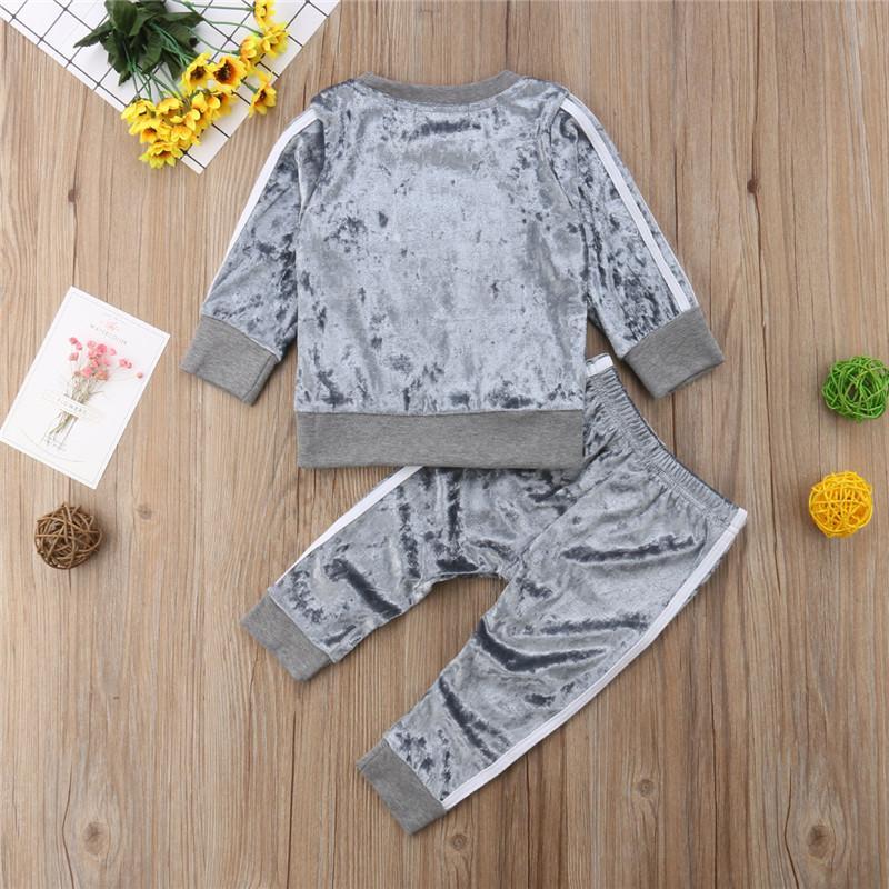 Pudcoco Outono Inverno de veludo crianças Bebés Meninas Roupas Define Sólidos manga comprida Tops T-shirt + calças 2PCS Outfit Sets Cinzento Rosa 1-5T