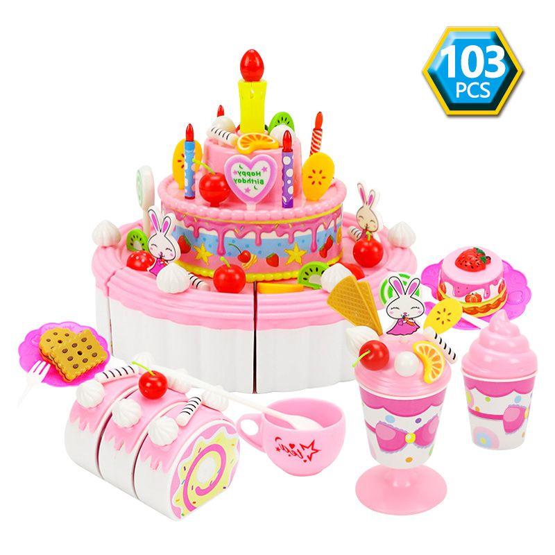 Fine 2020 12 Styles Kids Cartoon Animal Cake Pretend Play Kitchen Toys Personalised Birthday Cards Veneteletsinfo