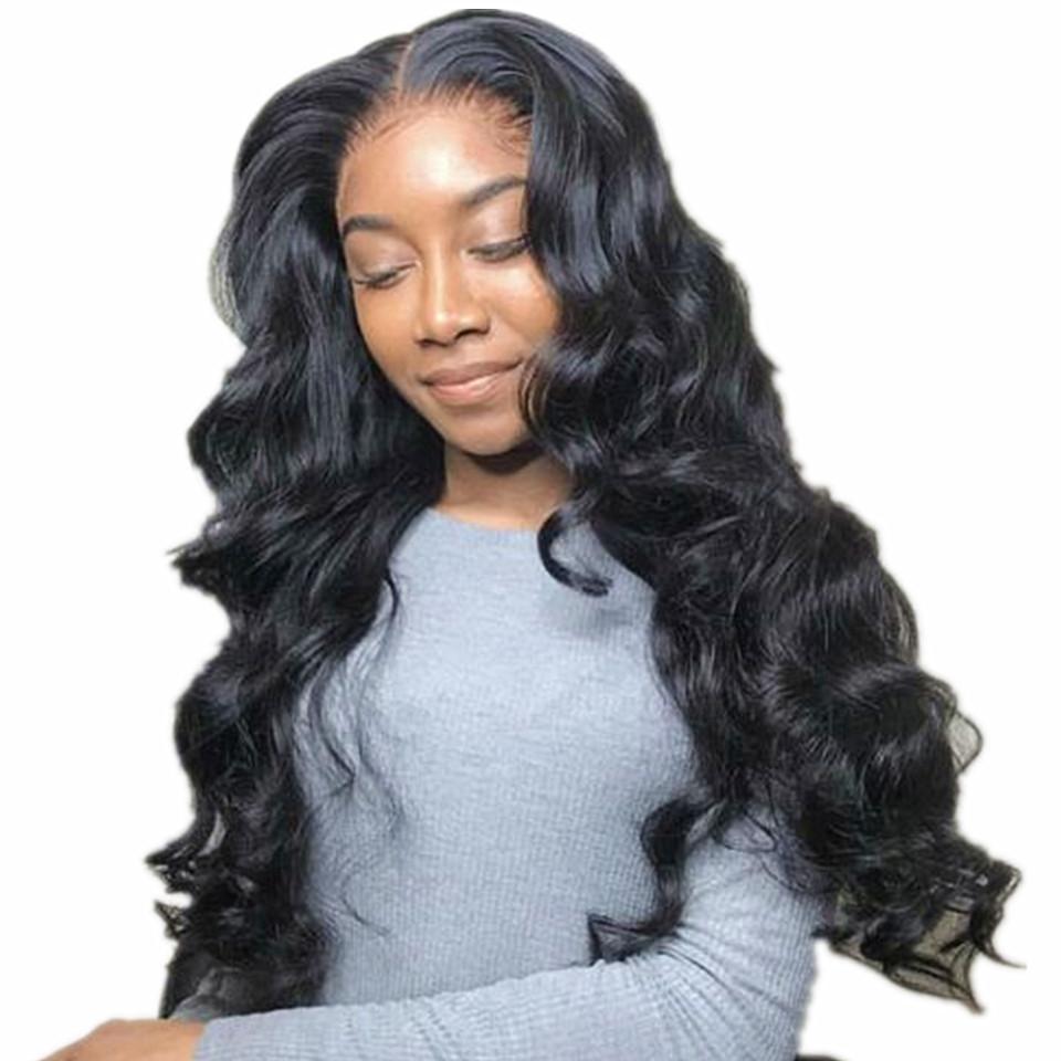 Frente del cordón de la onda del cuerpo del cabello humano pelucas Húmedo y del frente del cordón peluca ondulada sin cola brasileña Remy peluca de pelo Pre desplumados