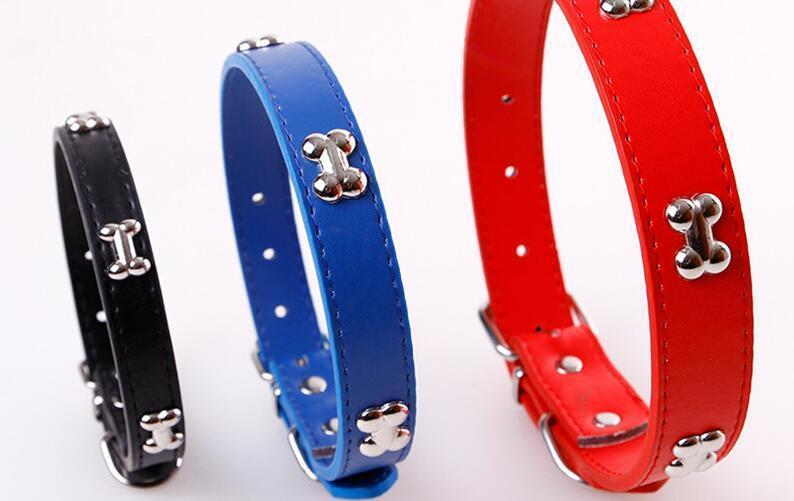 PU Leather Adjustable Bone Pet Dog Collar for Small Dogs Cat Puppy Necklace For Chihuahua Necklace Pet Products For Pet 111
