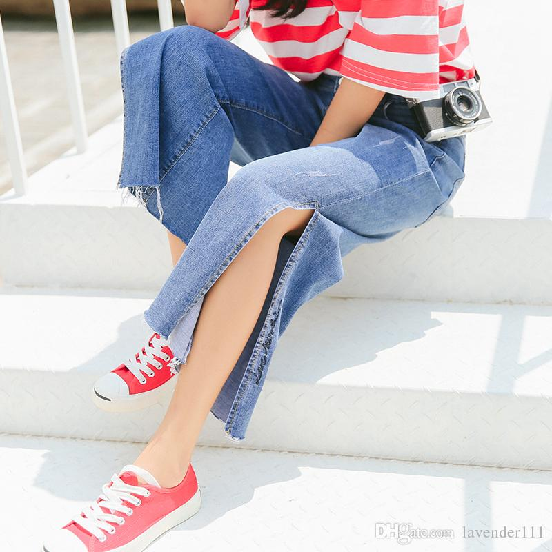 Woman's Female Fashion Sexy Split Straight Loose Denim Jeans Pants leggings Trousers Warm Clothing Clothes New styles