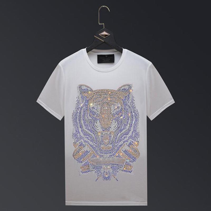Fashion Casual T-shirt For Men Casual Mens Short-sleeved Hot Diamond Tiger Head Design T-shirt Hip Hop Men Tee Tops