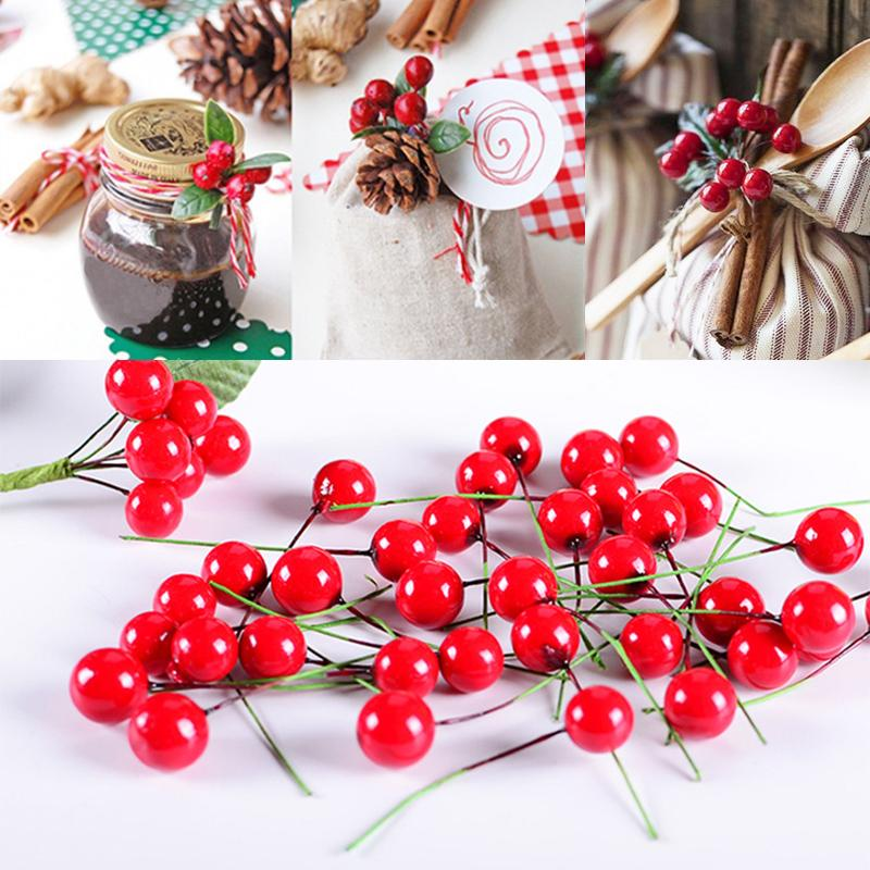 Fashion Cherry Christmas Supplies Red Holly Berry Garden Decorations Artificial Christmas Home 100pcs/Pack DIY Festival Supplies