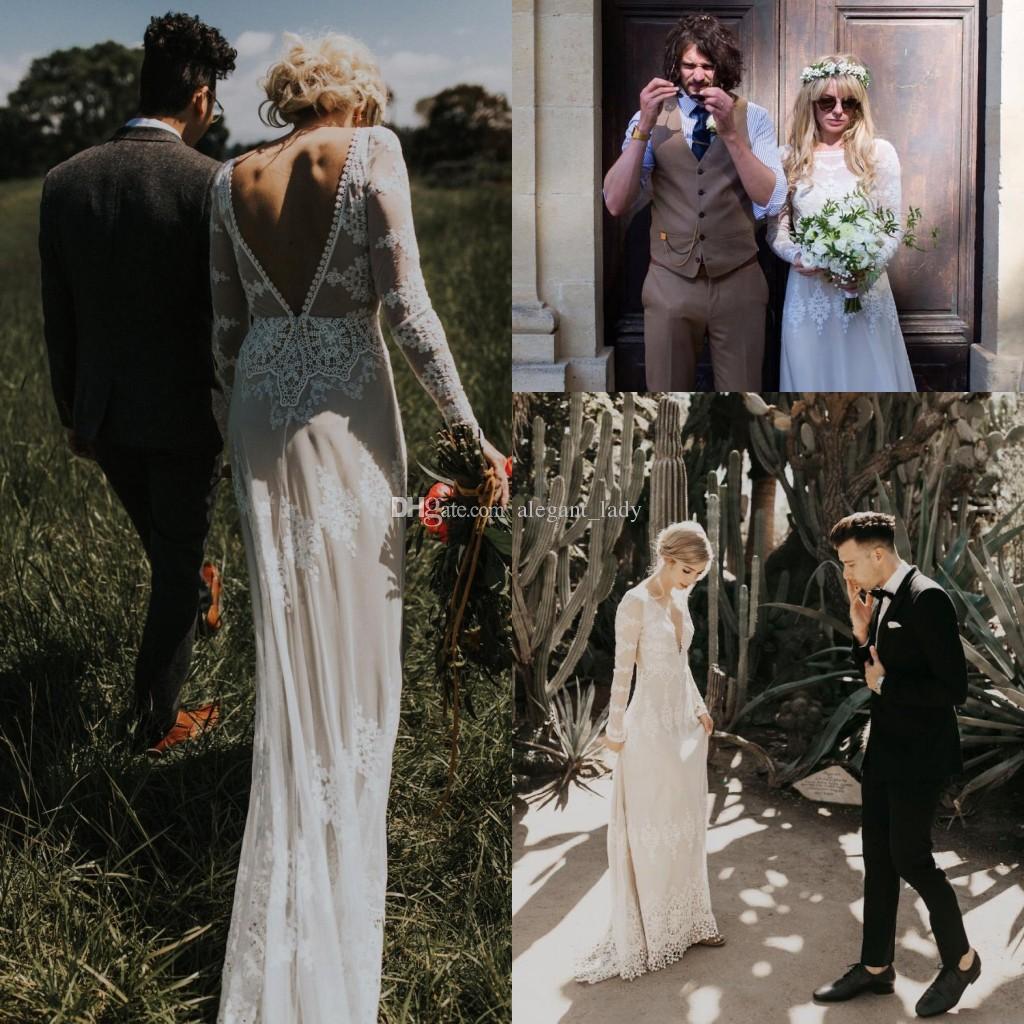 Abito da sposa stile bohemien aderente stile vintage linea posteriore scollata Abiti da sposa manica lunga Fodera nuda Vestido De Noiva