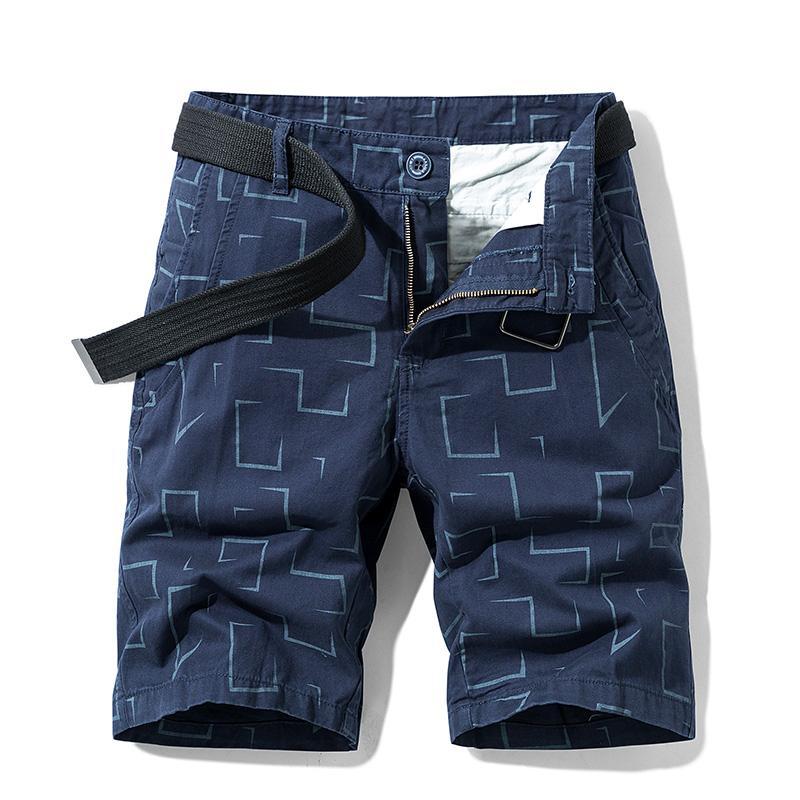 Neue Cargo-Shorts Männer Sommer-beiläufige Strand-kurze Hosen Homme Qualität elastische Taillen-Marke Board Druck Slim Fit