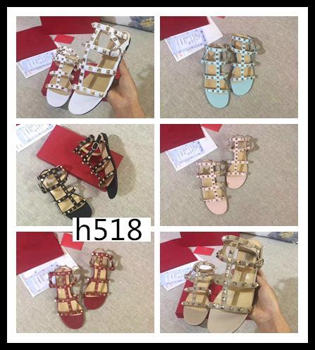 Boîte originale de haute qualité populaire marque sandales femme Valen Rivet Espadrilles Chaussures de Sandales en cuir Slipperssize 38