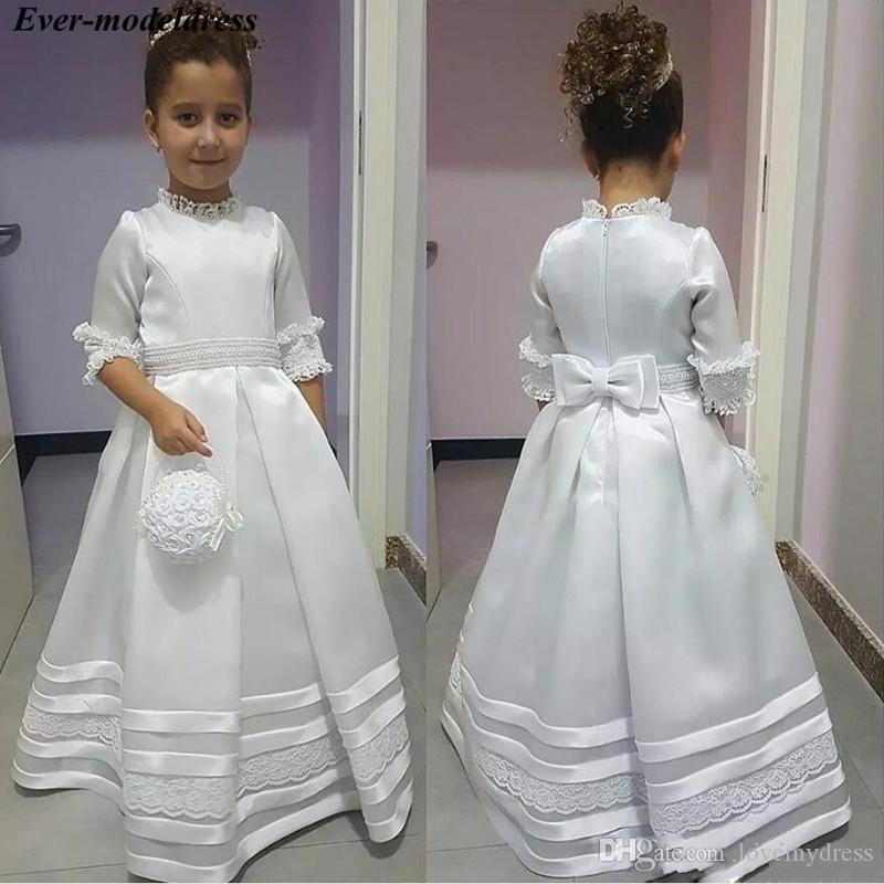 2020 Vintage Princesse dentelle perlée robes fille fleur manches courtes col montant de fête d'anniversaire Graduation Robe Communion enfants en bas âge