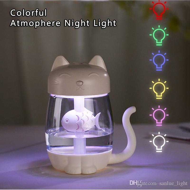 Nouveauté multi-fonctions changeable atmosphère USB LED Light Night Mignon animal chat avec des ventilateurs de humidificateurs Fish Trine Pour les enfants