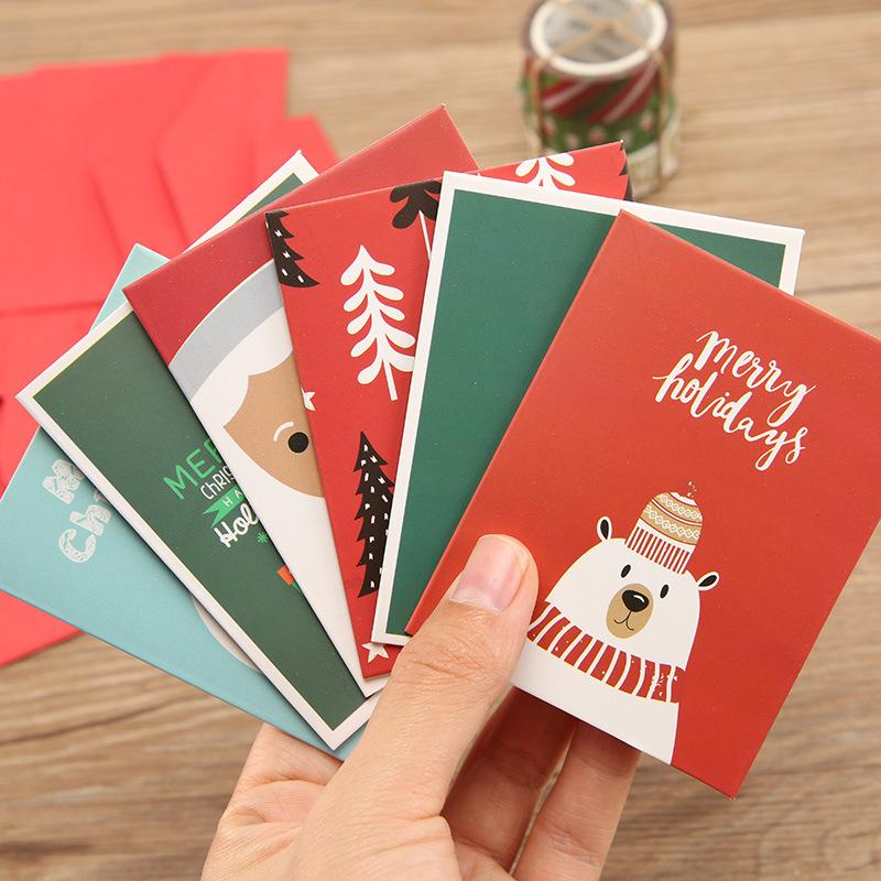 Christmas gift card and envelope set Fashion cute Christmas theme pattern High quality message card set