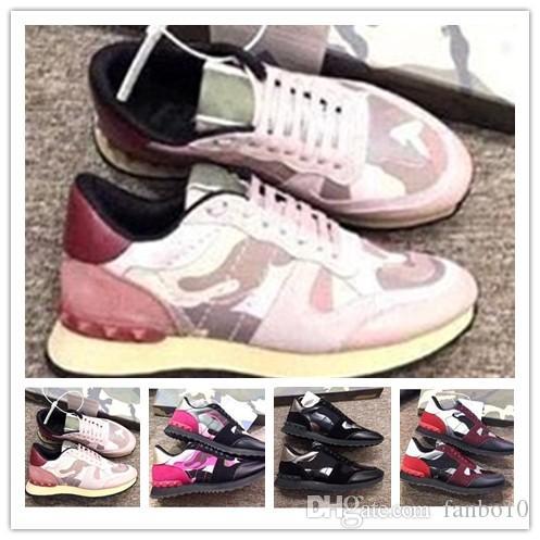 2020 mode chaussures de camouflage rockrunner rivets en daim en cuir hommes et femmes chaussures plates concepteur rockrunner chaussures casual 0j14