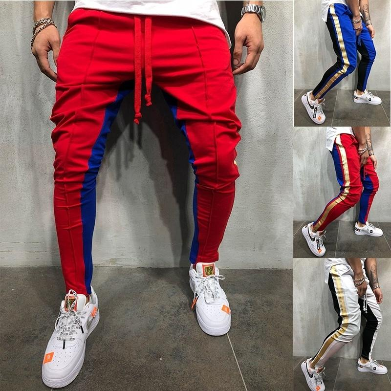 ZOGAA Men's Sweatpants Side Stripe Hip Hop Track Pants Street Wear Skinny Joggers Drawstring Elastic Waist Male Casual Trousers