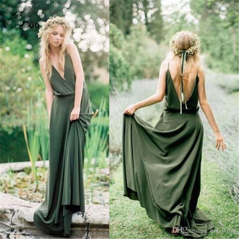 2020 BOHO Uzun Zeytin Yeşil Gelinlik Modelleri Düğün Parti Elbiseler Çift V Boyun Askıları Kadınlar için Nedime Elbise Uzun