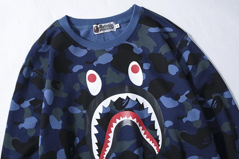 Cool requin visage camouflage mince marque mens sweats pull concepteur manches longues à capuche de luxe classique rue Hiphop haute chaud B100087L
