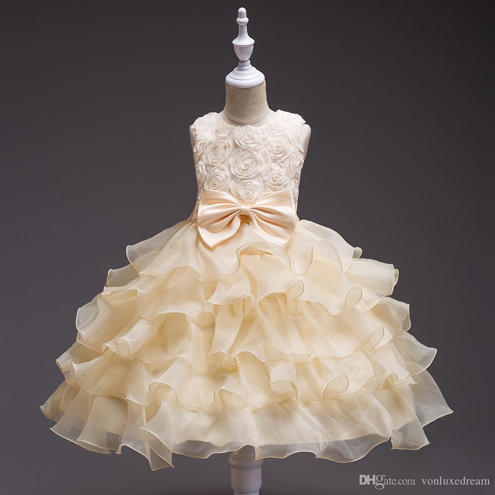 Cheap En stock White Ball robe fleur fille princesse Pageant Robes pour les petites filles pas cher longueur cheville Communion Robes