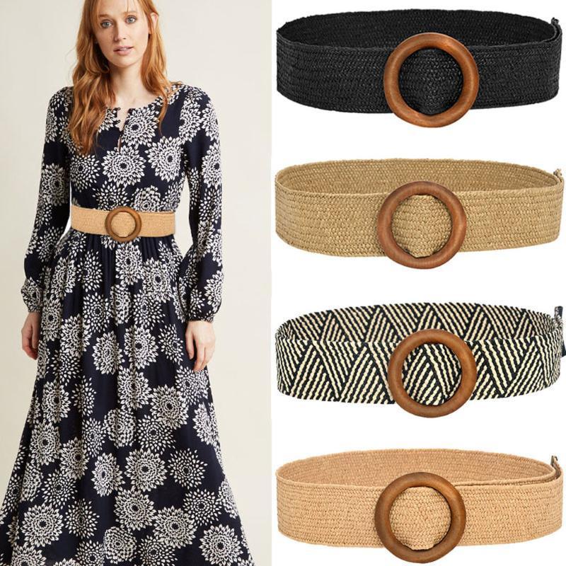 25# Vintage Boho Braided Waist Belt Round Wooden Buckle Belts For Women Smooth Round Buckle Wide Belt Woven Straw Female