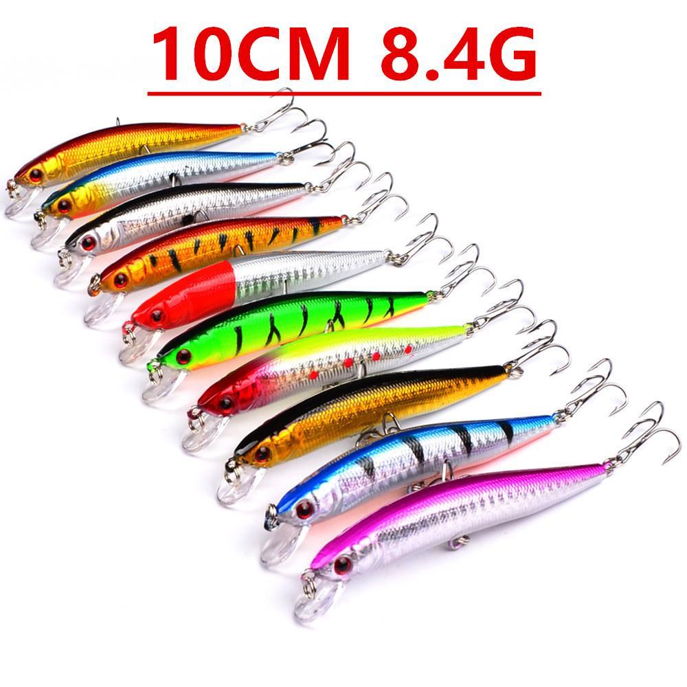 1pcs 10 Farben 10cm 8.4g Minnow Angelhaken Angelhaken 6 # Haken Kunststoff Hard-Köder-Köder Pesca Angelgerät Zubehör V-96