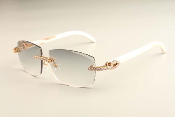 2021 Frete Luxo Diamante Branco Novos Óculos de Sol Horns T3524015-1 Natural Óculos de Sol Luz Luz Gravada Lentes Moda Ultra MLHXT