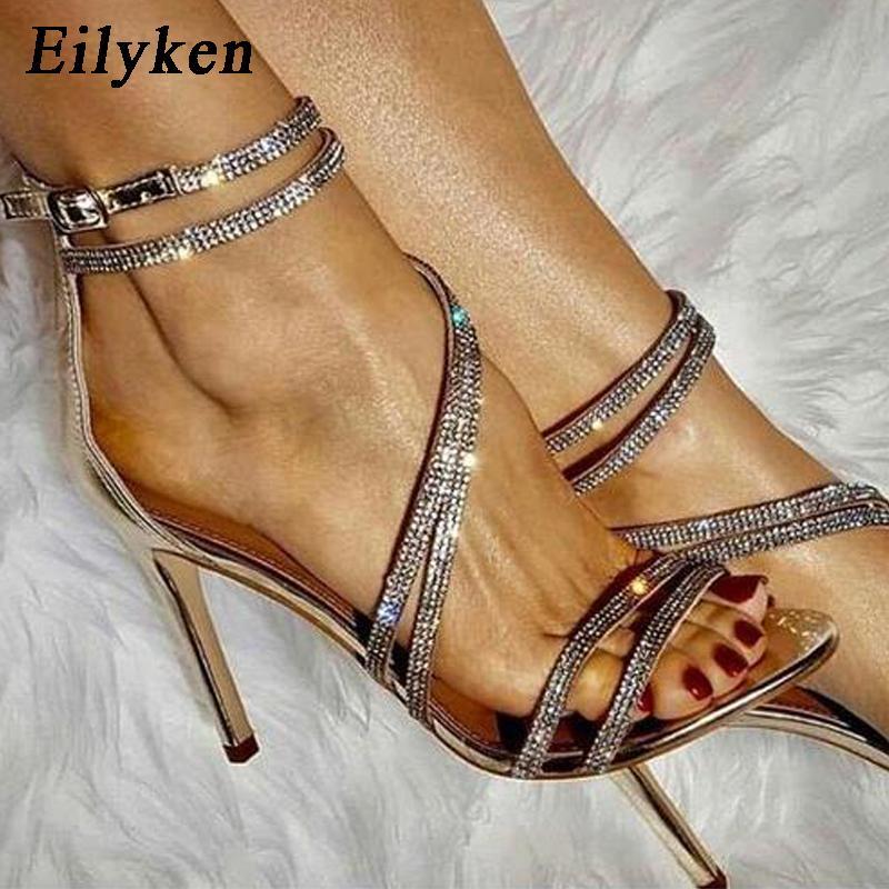 Sapatos Eilyken New Ladies Verão Moda Rhinestone Gladiator Sandals Mulheres casamento aberto Toe Depois Zip Stiletto Salto Alto
