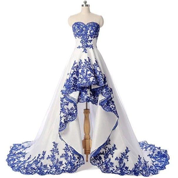 2019 Abiti da ballo blu e bianco royal low high Abiti da sposa senza maniche in pizzo con scollo a cuore e maniche corte