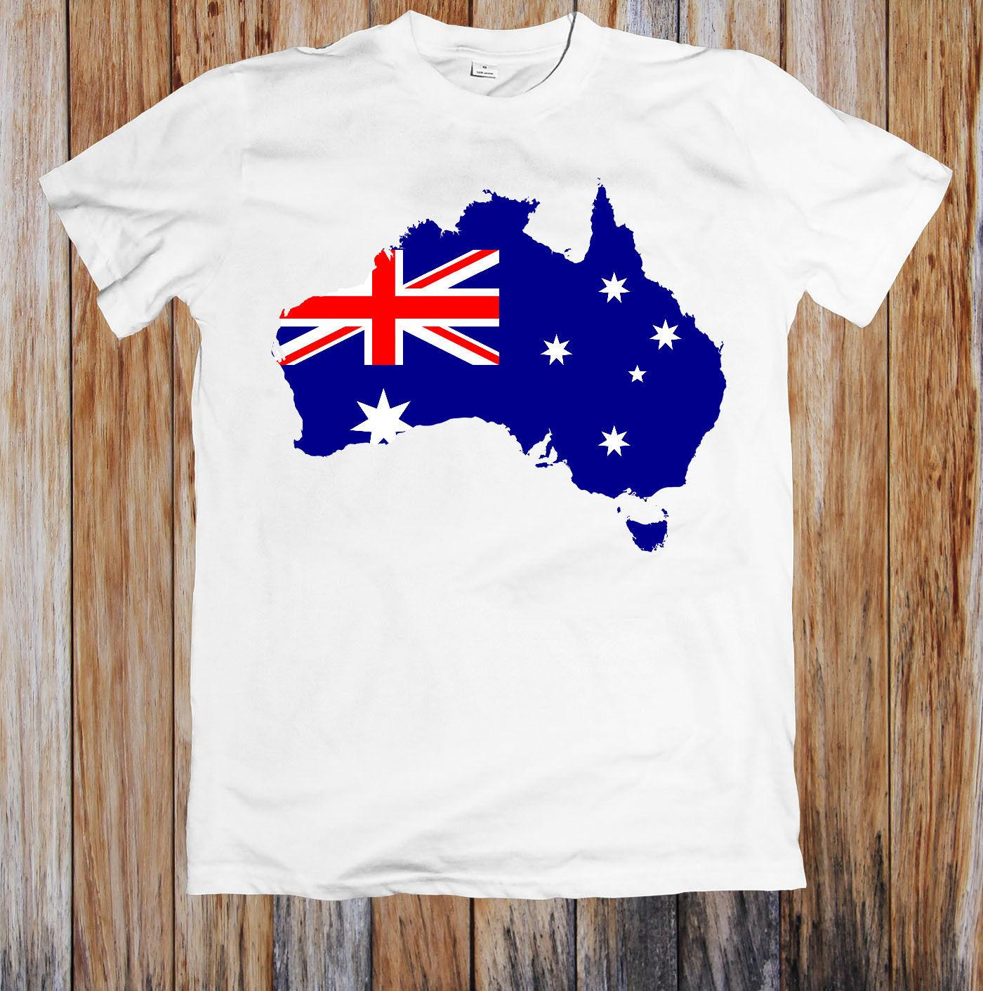 Australia Map Flag T-Shirt 100/% Soft Cotton Shirt