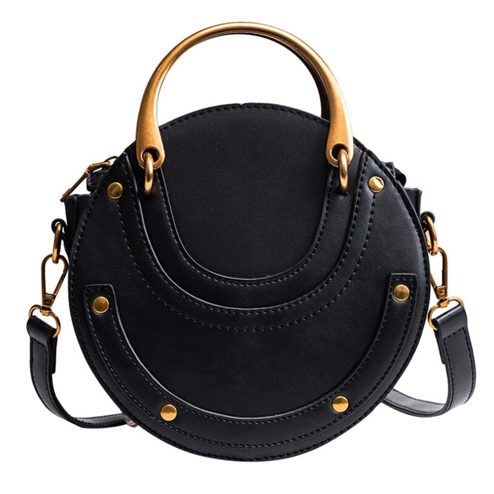 Frauen Kleine runde Niet-Dekoration Tasche Stitching Retro-Handtasche Schulter-Handtaschen-Weinlese-Kurier-Pack Umhängetaschen / E