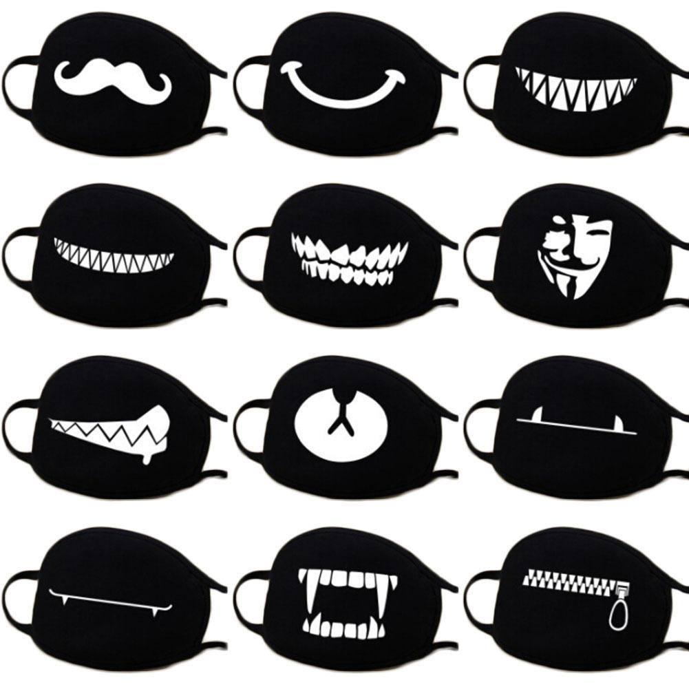 13 Arten von Mustern Frau Männer Mode Cartoon Lustige schwarze Baumwolle Schwarzer Mund Halbes Gesicht Weiche Anti-Fog Anti-Staub-Maske