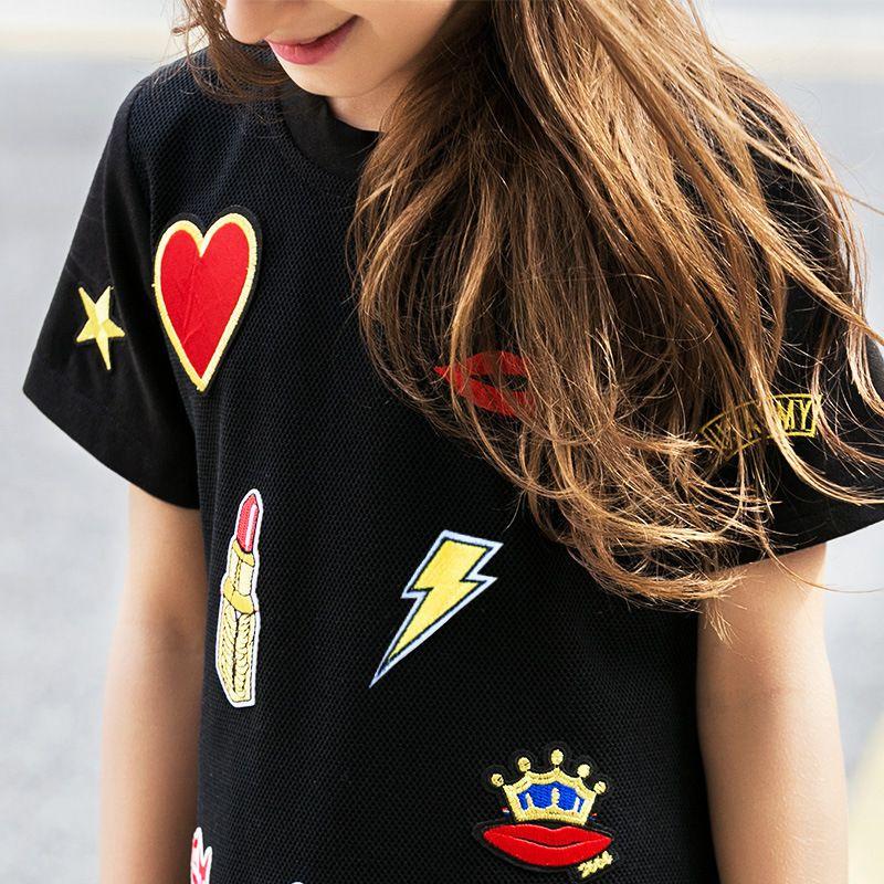 Großhandel 6 16 Jahre Teenager Mädchen Schwarzes Kleid Kinder Voile Chiffon Aufkleber Rüschen T Shirt Kleid Kinder Mode Girs Kleider Sommer 2019 Von
