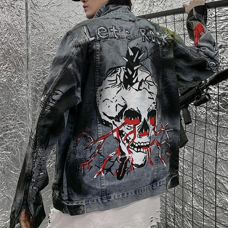 Abbigliamento marea di marca 2020 degli uomini del progettista Giacca di jeans scuro Oversize Hip Hop dei graffiti Coppia rivestimento / cappotto dimensioni Streetwear M-2XL Uomo