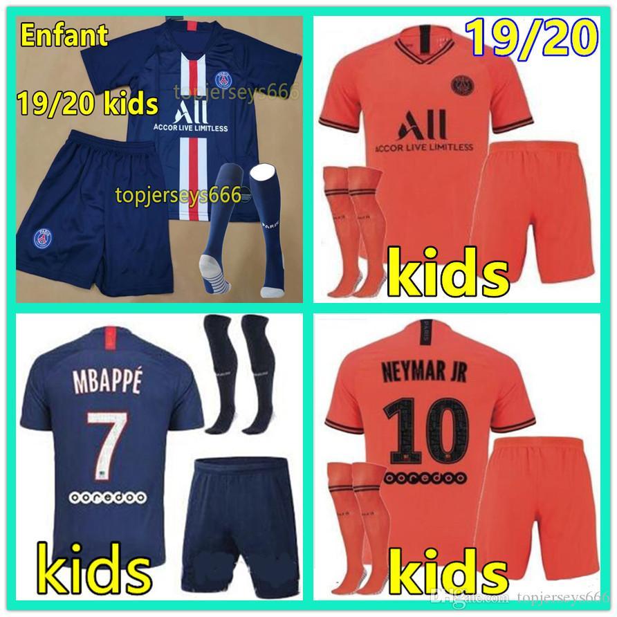 19-20  Soccer Sportswear Summer Kid Football Kit Short Sleeves Jersey Boys+Socks