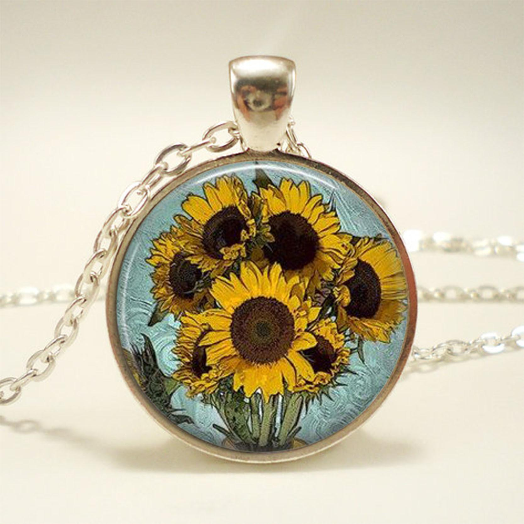 New Fashion Van Gogh Sunflower Glass Cabochon Pendant Necklaces Jewelry Hand Craft Gifts Funny Gifts For Women Men