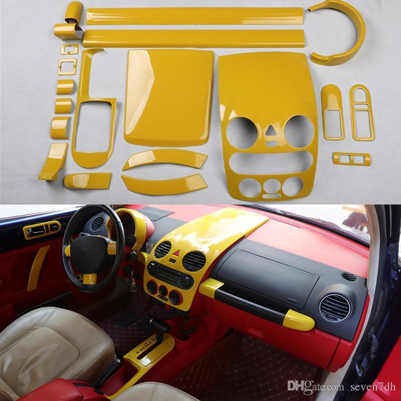 Крышка консоли Желтый Автоцентр двери Scuff передач Панель Стикер рулевого колеса Молдинг Обрезка для Volkswagen Beetle 2003-2012